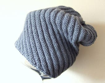 slouchy blue hat, warm knit cap, wool and acrylic, for him, for her