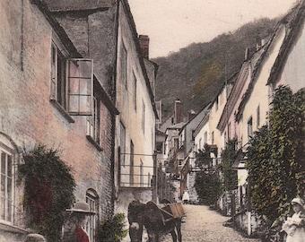 Vintage Postcard Donkey Boys Girls Hoop in Street Clovelly UK England 1900s-10s