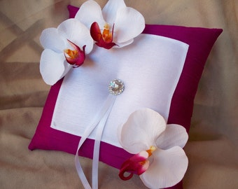 Magenta White Orchid Ring Bearer Pillow Rhinestone Flower Bloom Bridal Wedding