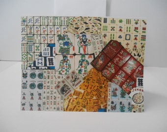 My Exclusive Design~Set of (5) Mah Jongg Themed All Occasion Note Cards + Envelopes