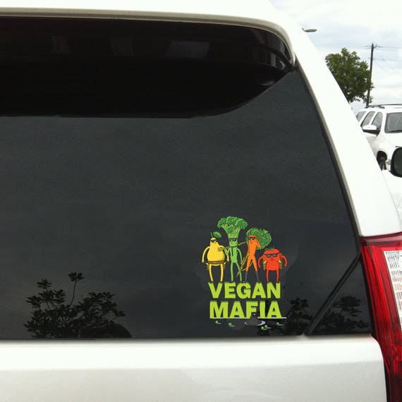 Vegan mafia car sticker car decal wall decal vegan art vegan stickers macbook decal