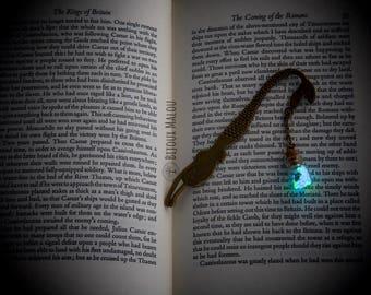 Glow in the Dark Mermaid Bookmark Bronze Mermaid Bookmark Fantasy Book Gift Small Bottle Bookmark Gift