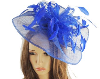 Highball Royal Blue Fascinator Hat for Weddings, Races, and Special Events With Headband
