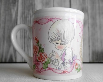"""Precious Moments """"June"""" Mug by Enesco, Collectible Coffee/Tea Cup, White with Pink Background"""