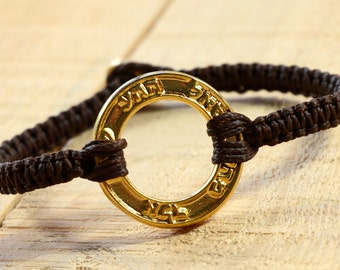 Good Fortune & Health Gold Plated Charm on Brown Macrame Bracelet - Handmade for Men and Women