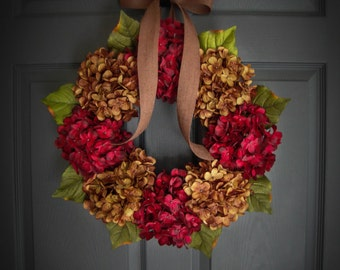 Wreath | Summer Wreath |  Front Door Wreaths | Wreath for Front Door | Fall Wreath | Hydrangea Wreath | Wreaths | Housewarming Gift