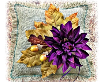 Rustic wedding Fall leaves ring pillow, sage gren and purple burlap ring bearer pillow