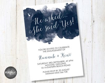 Engagement Invitation A6, He asked... She Said Yes!