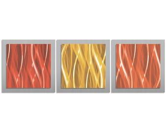 Red, Gold & Orange Wall Art 'Warm Essence' - 38x12 in. - Warm Color Modern Artwork. Simple, Contemporary Metal Art Design - Warm Metal Art