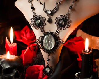 Moon Necklace, Pagan Tribal Necklace, Wiccan Gothic Jewelry