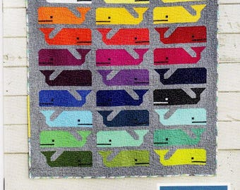 Sale!  Sale!  PREPPY THE WHALE   Mini, Child & Picnic Quilt Pattern    Make a Pod of Happy Whales! - By Elizabeth Hartman