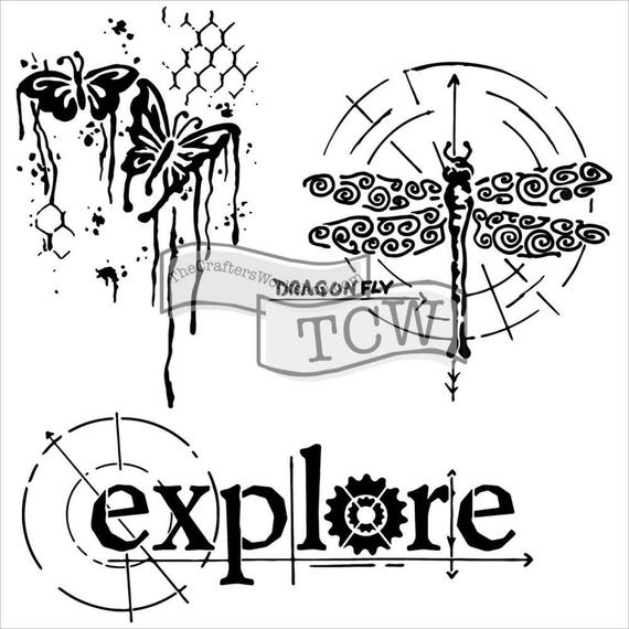 """Winged Exploration, 6 x 6"""" Stencil  template of dragonfly, butterfly, explore designs perfect for mixed media, journaling and more"""