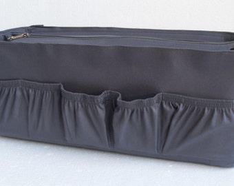 "XXL Purse organizer for duffle bag 18"" length- Bag organizer insert in Charcoal  fabric"