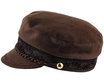 CHANDLER - Mariner's / Fiddler's Cap with embroidered tape and twine - brown wool