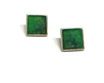 Vintage Green Earrings Square Earring For Women Vintage pierced Earrings Square Shaped Earrings Green and Silver Square Earrings