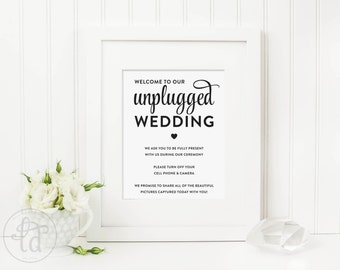 Unplugged Wedding Sign - Digital File - Print at Home - INSTANT DOWNLOAD