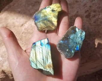 Set of 3 Colorful Semi Polished Labradorite Slab | Labradorite Palm Stone | Healing Crystal | Mineral Specimen #2