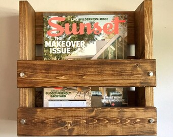 Magazine Holder Rustic Wood Magazine Rack Restaurant Bar Menu Holder, Wall mounted magazine rack, Farmhouse decor, Wall mounted rack wood