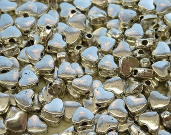 6x5mm (1.5mm hole) Silver Alloy Metal Heart Spacer Beads - Qty 20 (G230)