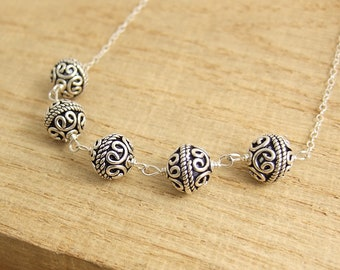 Necklace with Sterling Silver Bali beads Wire Wrapped with Sterling Silver Wire to a Sterling Silver Chain CDN-734