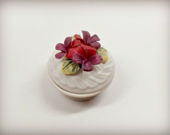 Vintage Porcelain Ring Box with Red Flowers - The Secret Garden Collection