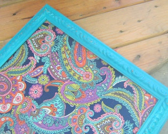 Turquoise Ornate Framed Magnetic or Bulletin Board Navy Blue Paisley Pattern Many Colors and Size OPtions