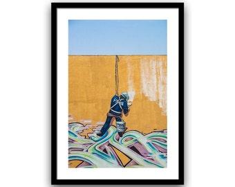 Grafitti Art, Street Art Print, Urban Art, Home Decor, Grafitti Wall Art, Graffiti Art, Travel Photography, Fine Art Print, 5x7 8x10, Blue