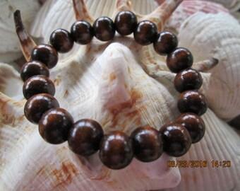204  Wood chestnut 8mm beaded handmade bracelet
