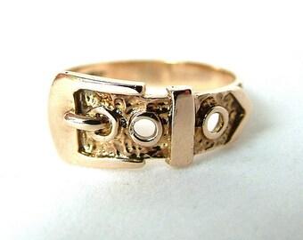9ct Gold Buckle Ring, Gold Belt Buckle Ring, Gold Belt Ring, 9k Buckle Ring, Bark Gold Buckle Ring