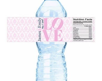 """20 Your Colors LOVE Damask Wedding Water Bottle Labels - Need a different quantity? Click on the """"choose total"""" tab to see all pricing"""