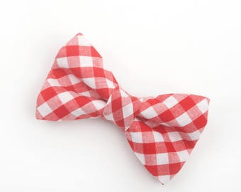Red Gingham Bow tie, Red check bow tie, red and white bow tie, Christmas bow tie, holiday bow tie, red christmas bow tie, red bow tie, check