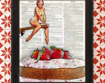 Pinup Girl Diving into Dessert - Gil Elvgren Retro Kitchen Decor Funny Kitchen Sign Gift for Mom, Home Decor, Unique gift for Mom, Christmas