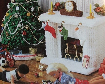 Crochet Barbie Fashion Doll Pattern CHRISTMAS CORNER ~ Tree, Fireplace, Stockings +
