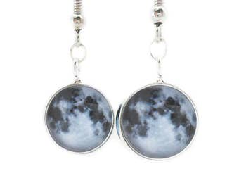 Full Moon Earrings Dangle Hook Lunar Night Sky Celestial Astronomy