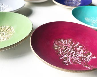 Lace Print Ring Dish,  Autumn winter colours, lace print, clay jewellery dish bowl, trinket bowl, catchall,