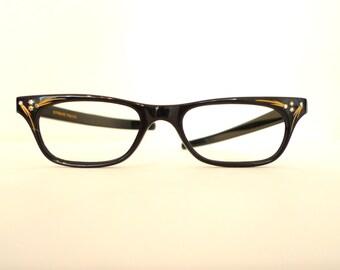 Stunning NOS Black Rhinestone Cat Eye Glasses Frame. Eyeglasses. Sunglasses. France. Gilded. MCM Midcentury Modern Catseyes Rockabilly Vixen