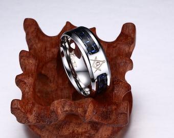 Vintage Freemason Ring, Stainless Masonic Ring, Freemason Masonic Square and Compass Ring