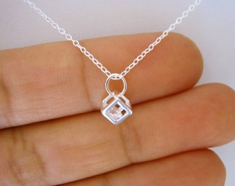 Small BOX CUBE with CZ stone sterling silver pendant with necklace, minimalist jewelry