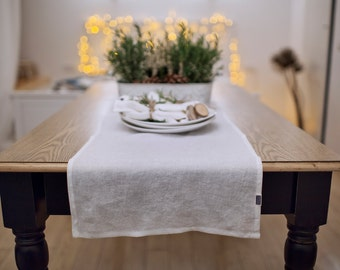Stone washed linen table runner. 12 colours. Handmade linen runner. Softened linen runner. White table decor. Table linens. Flax