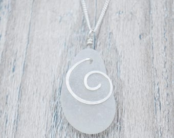 White Maine Sea Glass Necklace with Silver Spiral