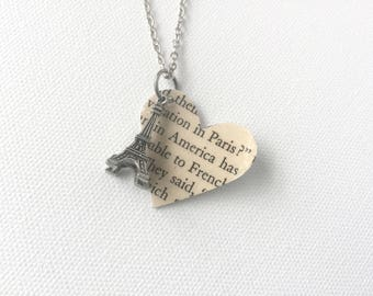 Eiffel Tower Paris Necklace, Book Page Heart Necklace, France Book Text, Recycled Book Page Jewelry, Julia Child Necklace, American in Paris