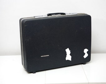 Vintage Upcycled Suitcase With Hand Painted Romantic Silhouettes