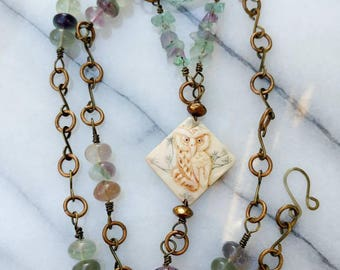 Reversible Carved Owl on Brass Chain with Fluorite