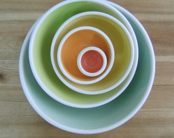 Rainbow Pottery Nesting Bowls, Anniversary Gift, Large Ceramic Stoneware Serving Set, Wedding Gift, Wheel Thrown, Foodie Gift