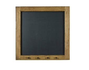 """Square 16"""" x 16"""" Chalkboard with Natural Wood Pegs 