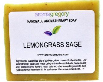 Lemongrass Sage soap - natural handmade soap with lemongrass and clary sage essential oils