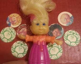"""Vintage Set of 8 Original 1"""" CABBAGE PATCH Mini POGS!! Comes with Free Little Doll! Details Below."""