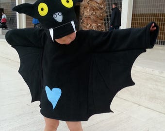 Halloween child bat costume black baby toddler