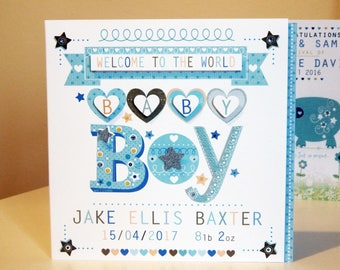 Baby boy card personalised baby boy special card for boy new arrvial/new baby boy card