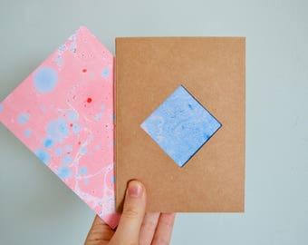 A6 Notebook Marble | Hand bound | Diamond Cut-out | Kraft + Blank |